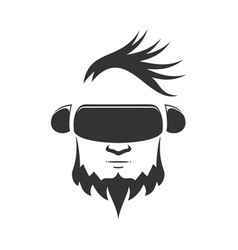 head of a man in a helmet vr on a white background vector image