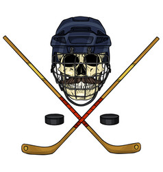 hockey player skull vector image