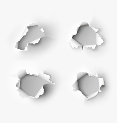 holes torn in paper on white vector image