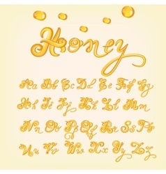 Honey alphabet Shiny glazed letters vector