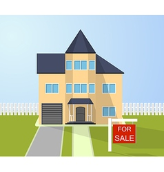 House with for sale sign selling home vector