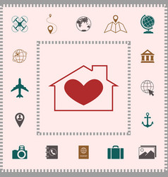 House with heart symbol elements for your design vector