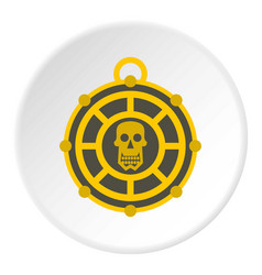 Human skull aztec medallion icon circle vector