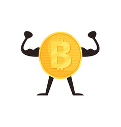 Humanized bitcoin character showing biceps muscles vector