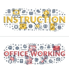 Instruction and Office Working headings titles vector