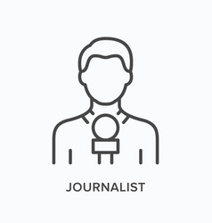 Journalist holding microphone flat line icon vector