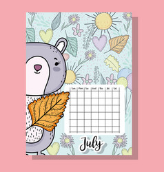 July calendar information with squirrel and vector