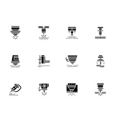 Laser technology black glyph style icons vector