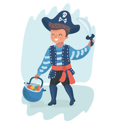 little pirate boy vector image