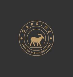 Logo goat walking vintage badge vector