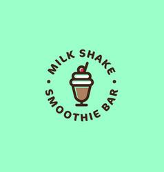 milk shake smoothie bar logo sweet beverages vector image