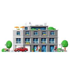 Modern apartment building isolated vector