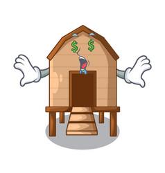 Money eye chicken in a wooden cartoon coop vector