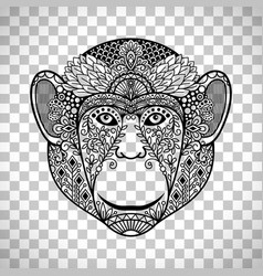 Monkey face with ethnic motifs vector