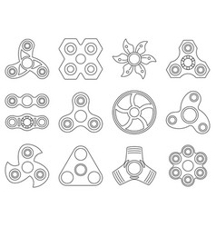 Mono line pictures of hand spinner toys for vector