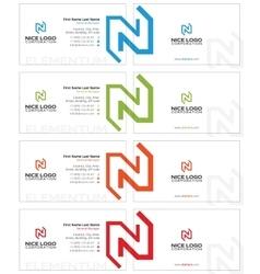 N letter business card light vector