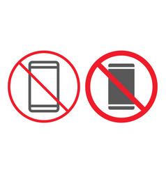 no phone line and glyph icon prohibition vector image