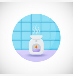 Oil burner flat icon vector