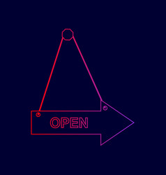 open sign line icon with vector image