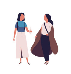 pair of school teenage girls female students vector image