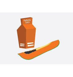 Papaya juice in carton box vector