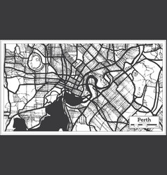 Perth australia city map in black and white color vector