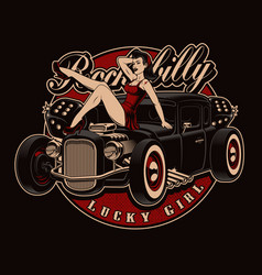 Pin up girl with classic hot rod vector