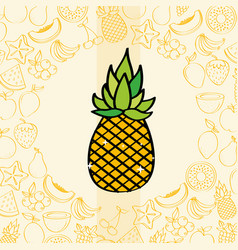Pineapple fruits nutrition background pattern vector