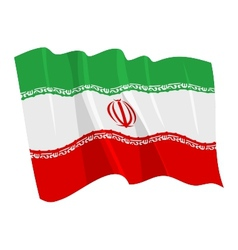 political waving flag of iran vector image