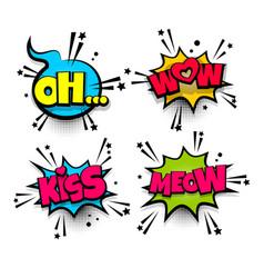 Pop art phrase comic text set vector