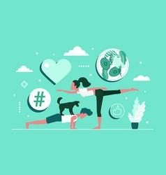 practice yoga together concept with cartoon yogi vector image