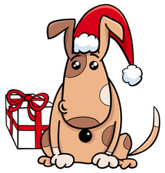puppy with gift on christmas time vector image