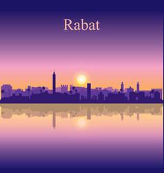 Rabat city silhouette on sunset background vector