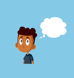 Sad african boy with thinking bubble vector