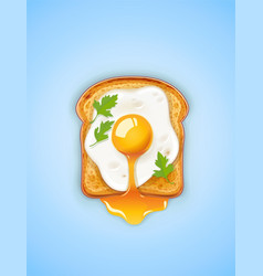 sandwich with fried egg fast vector image