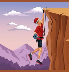 Scene landscape man hanging on cliff anchored vector