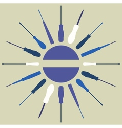 Screwdrivers silhouettes round frame vector image