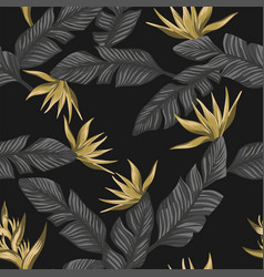 seamless composition from gray tropical leaves vector image