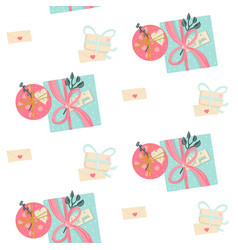 seamless pattern with presents gifts and letters vector image