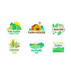 set farm or farmer food logo ecological natural vector image