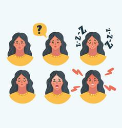 set girl woman facial emotions vector image