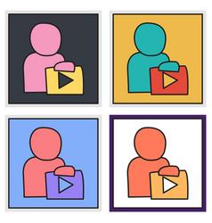 Set of unusual look play logo icon buttonyoutube vector