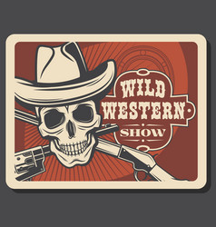 skull in sheriff hat crossed guns wild west vector image