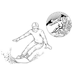 snowboarder with a board on his shoulders vector image