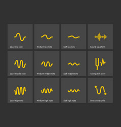 Sound note wave types icons vector