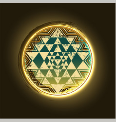 Sri yantra golden symbol vector