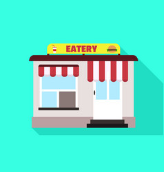 Street eatery icon flat style vector