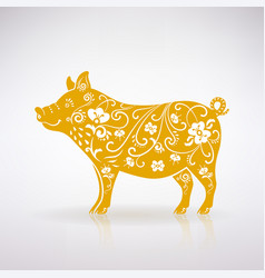 Stylized yellow pig vector