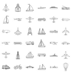 transport icons set outline style vector image