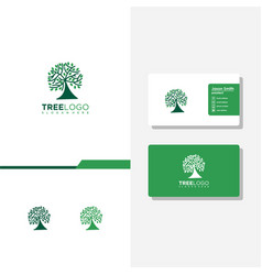 Tree logo and business card vector